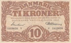 Imaginea #1 a 10 Coroane 1943 - Serie V (semnături Svendsen / Hellerung)