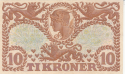 Imaginea #2 a 10 Coroane 1943 - Serie V (semnături Svendsen / Hellerung)