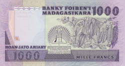 Imaginea #2 a 1000 Franci = 200 Ariary ND (1983-1987)