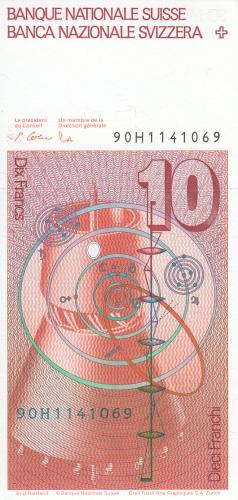 Image #2 of 10 Franken (19)90 - signatures Peter Gerber / Dr. Markus Lusser (61)