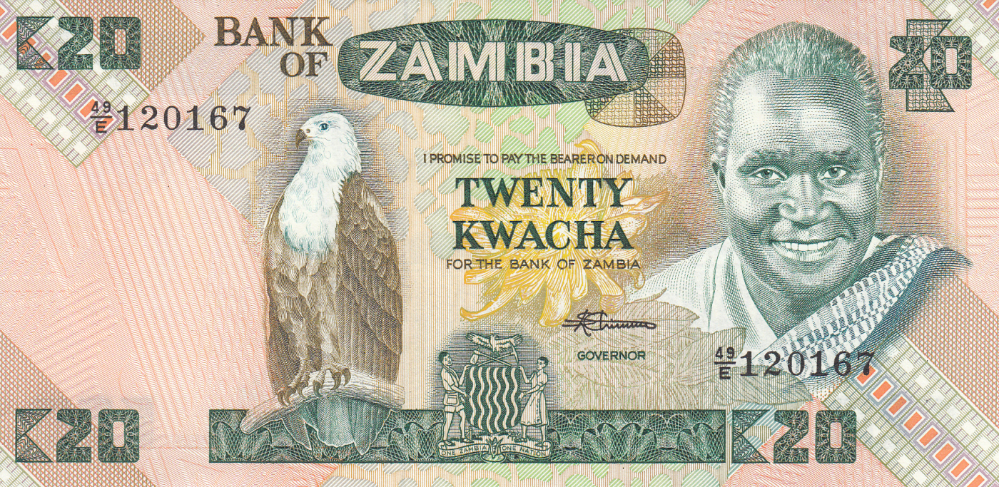 Zambia P-27 20 Kwacha Year ND 1980-1988 Uncirculated Banknote