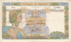 Image #1 of 500 Francs 1942 (1. X.)