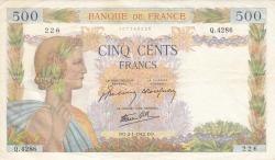 Image #1 of 500 Francs 1942 (2. I.)