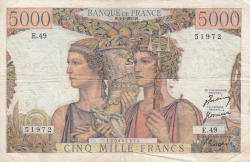 Image #1 of 5000 Francs 1951 (1. II.)