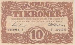 Imaginea #1 a 10 Coroane 1943 - Serie T (semnături Svendsen / Hellerung)