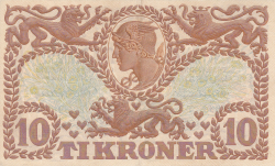 Imaginea #2 a 10 Coroane 1943 - Serie T (semnături Svendsen / Hellerung)