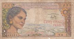 Imaginea #1 a 500 Francs = 100 Ariary ND (1966)