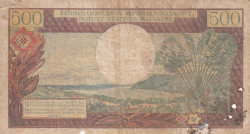 Image #2 of 500 Francs = 100 Ariary ND (1966)