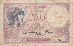 Image #1 of 5 Francs 1939 (10. VIII.)