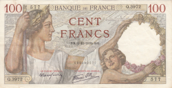 Image #1 of 100 Francs 1939 (2. XI.)