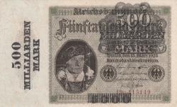 Image #1 of 500 Milliarden (500,000,000,000) Mark ND (X. 1923 - old date 15.3.1923) (Overprint: New denomination overprint on #87)