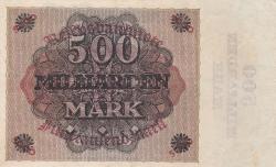 Image #2 of 500 Milliarden (500,000,000,000) Mark ND (X. 1923 - old date 15.3.1923) (Overprint: New denomination overprint on #87)