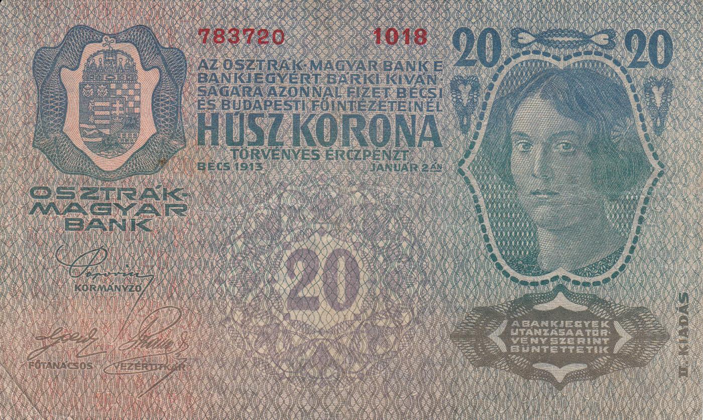 AUSTRIA-HUNGARY 20 KRONEN 1913 VERY FINE 3