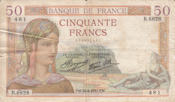 Image #1 of 50 Francs 1937 (26. VIII.)