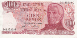 Image #1 of 100 Pesos ND (1973-1976) - signatures Enrique Porta / Emilio Mondelli