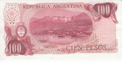 Image #2 of 100 Pesos ND (1973-1976) - signatures Enrique Porta / Emilio Mondelli