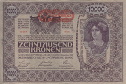 Image #1 of 10,000 Kronen ND (1919 - old date 02. XI. 1918) - Overprint: DEUTSCHOSTERREICH on Oesterreichisch-Ungarische Bank issue