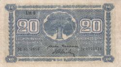Imaginea #1 a 20 Markkaa 1945 (1948) - semnături Kekkonen / Alsiala
