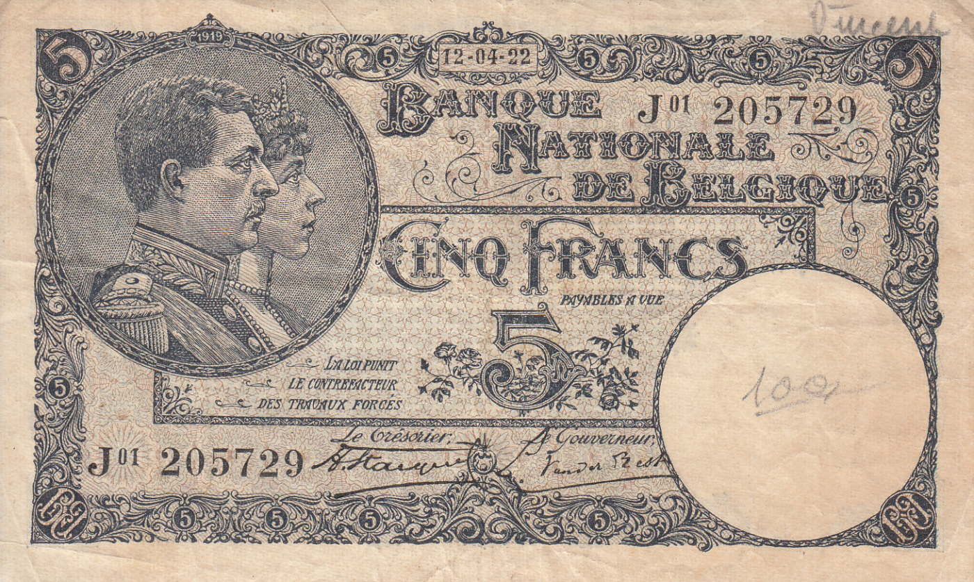 5 Francs 1922 (12. IV.), 1920-1927 Issue