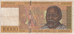 Image #1 of 10,000 Francs = 2000 Ariary ND (1995)