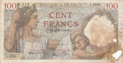 Image #1 of 100 Francs 1939 (16. XI.)