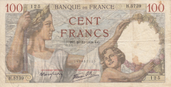 Image #1 of 100 Francs 1939 (28. XII.)