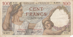 Image #1 of 100 Francs 1939 (7. XII.)