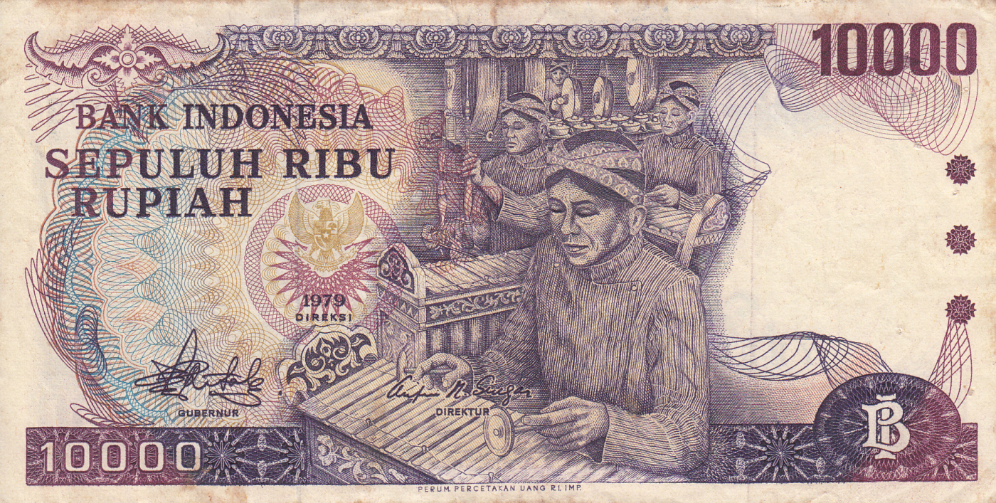 INDONESIA 10000 10,000 RUPIAH P118 1979 MUSIC BOROBUDUR UNC MONEY BILL BANK NOTE