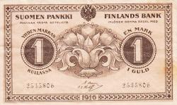 Imaginea #1 a 1 Markka 1916 - semnături Basilier / Thesleff