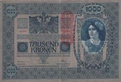 Image #1 of 1000 Kronen ND (1919 - old date 02. I. 1902) - Overprint: DEUTSCHOSTERREICH on Oesterreichisch-Ungarische Bank issue