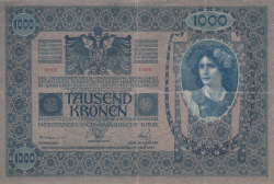 Image #2 of 1000 Kronen ND (1919 - old date 02. I. 1902) - Overprint: DEUTSCHOSTERREICH on Oesterreichisch-Ungarische Bank issue