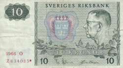 Image #1 of 10 Kronor 1966 - replacement note