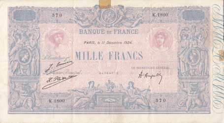 Image #1 of 1000 Francs 1924 (11. XII.)