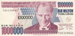 1,000,000 Lira ND (2002) - signatures Süreyya SERDENGEÇTİ/ Dr. S. Fatih ÖZATAY