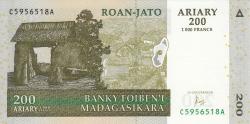 Image #1 of 200 Ariary 2004 = 1000 Francs 2004 - signature A. Rasolofondraibe
