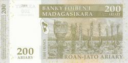 Image #2 of 200 Ariary 2004 = 1000 Francs 2004 - signature A. Rasolofondraibe