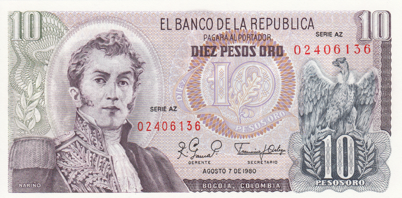 COLOMBIA P  409d  Uncirculated Banknotes 20  PESOS  ORO  1982