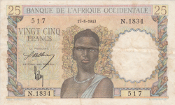 Image #1 of 25 Francs 1943 (17. VIII.)