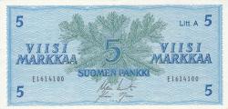 Imaginea #1 a 5 Markkaa 1963 - semnături Koivisto / Nars