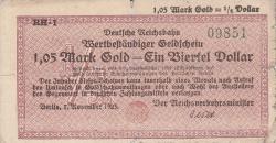 Image #1 of 1.05 Mark Gold 1923 = 1/4 Dollar 1923 (7. XI.)