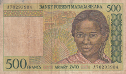 Image #1 of 500 Francs = 100 Ariary ND (1994)