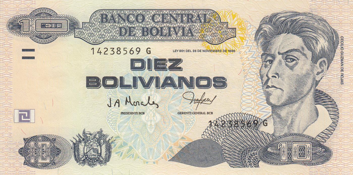 Bolivia P-228 10 Bolivianos L.1986 Series G Year 2005 Uncirculated Banknote