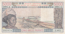 Imaginea #1 a 5000 Franci 1991