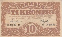 Imaginea #1 a 10 Coroane 1943 - Serie U (semnături Svendsen / Pugh)