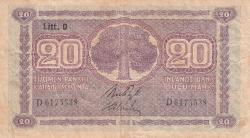 Imaginea #1 a 20 Markkaa 1939 (1939-1945) - semnături Ryti / Alsiala