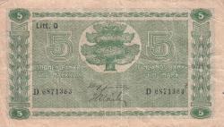 Imaginea #1 a 5 Markkaa 1939 (1942-1945) - semnături Jultila / Alsiala