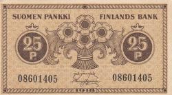 Imaginea #1 a 25 Pennia 1918 - semnături Järnefelt / Hisinger-Jägerskiöld