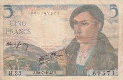 Image #1 of 5 Francs 1943 (22. VII.)