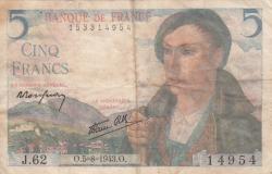 Image #1 of 5 Francs 1943 (5. VIII.)
