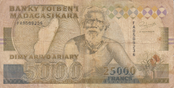 Imaginea #1 a 25,000 Francs = 5,000 Ariary ND (1993)